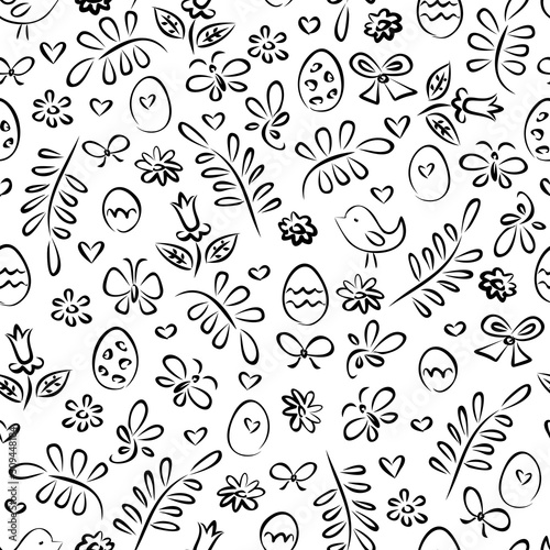 Easter eggs, leaves, chicks and flowers. Hand draw seamless pattern. Texture for fabric, wrapping, wallpaper. Decorative print.