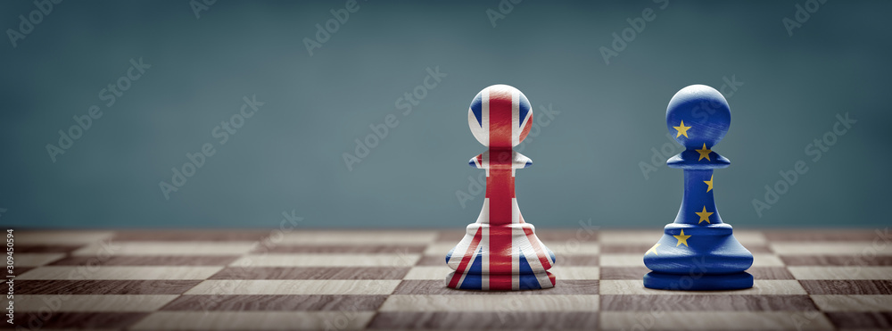 Fototapeta Brexit concept. United Kingdom and European Union flags on chess pawns.