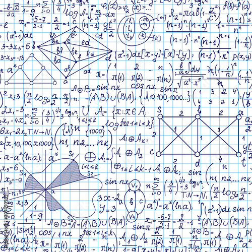 Valokuva Mathematics vector seamless pattern with handwritten algebra and discrete math f