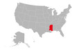 USA country map highlighting mississippi state vector. Gray background. United states political map.