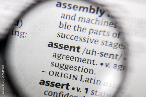 The word or phrase assent in a dictionary. Wallpaper Mural
