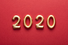Composition Of Golden Numbers 2020 On Red Background