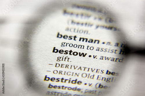 The word or phrase Bestow in a dictionary. Wallpaper Mural