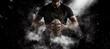 Leinwanddruck Bild - Rugby player in action on dark