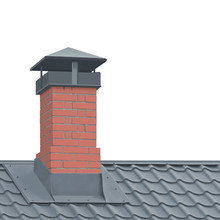 Red Brick Chimney Grey Steel T...