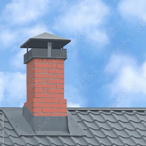 Wallpaper Mural Red Brick Chimney Grey Steel Tile Roof Texture Tiled Roofing Large Detailed Vert
