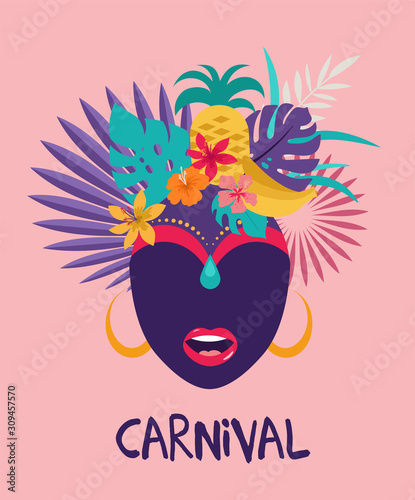 Photo Brazilian Carnival, music festival, masquerade flyer template