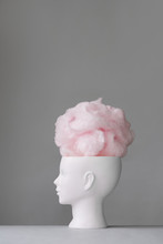 Woman's Head With Cotton Candy