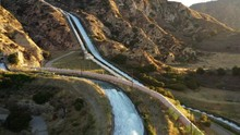 Aerial Shot Of Some Of The Aqueducts That Helps Supply Water To Los Angeles.