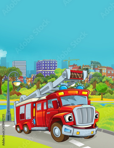 Fototapety, obrazy: cartoon scene with fireman vehicle in the park near the city - illustration for children