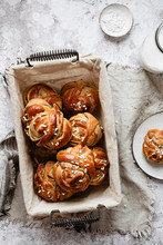 Swedish Breakfast With Cinnamon Buns Kardemummabullar