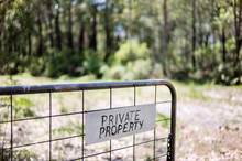 Private Property Sign On A Gate
