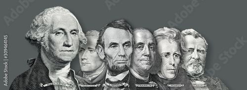 Fototapeta US Currency - Presidents and Founding  Fathers of the United states from Dollar Bills obraz