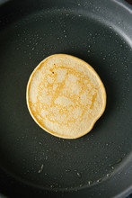 Vegan Pancake Cooking In A Pan Overhead