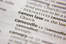 Word Or Phrase Canon Law In A Dictionary.