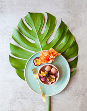 Tropical Theme With Exotic Fruit And Flower