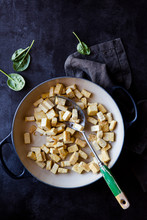 Crispy Fried Tofu In Pan