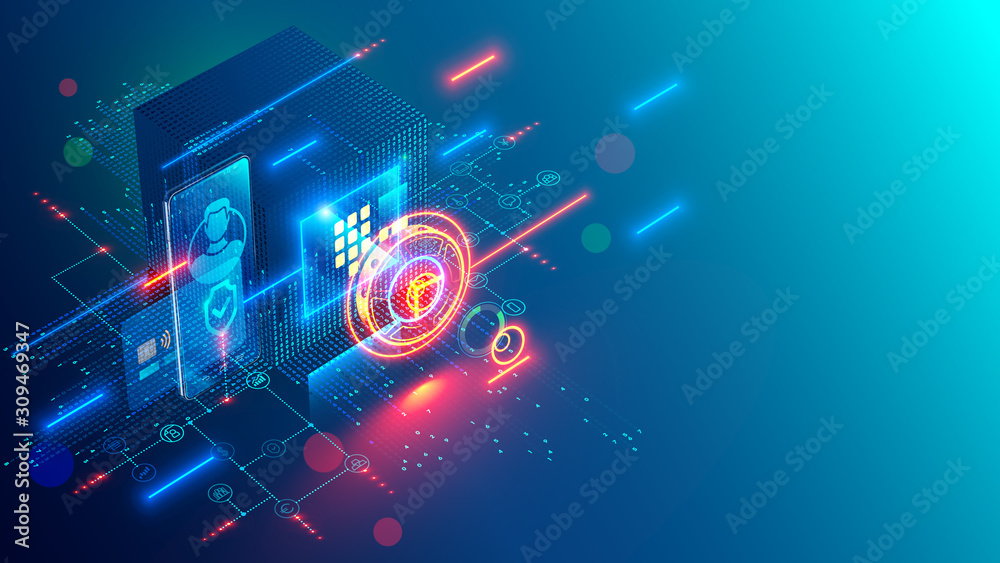 Fototapeta Mobile internet banking abstract conceptual blue background. Digital safe deposit with online access via app on smartphone. Protection Banking card for web shopping. NFC technology contactless payment