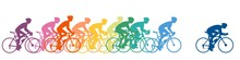 Bicycle Riders Colorful Silhouettes. Vector Illustration