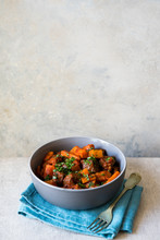Bowl Of Hearty Beef Stew With Vegetables