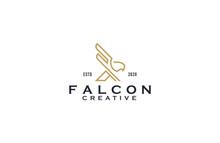 Falcon Line Art Logo Design Il...