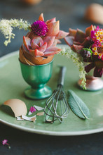 DIY Easter Table Setting Idea With Succulents, Flowers And Herbs In Egg Cup Holder