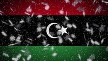 Libya Flag Falling Snow Loopab...