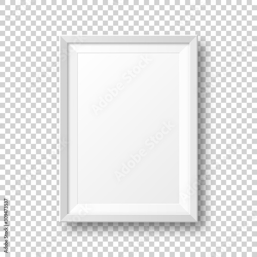 Realistic blank white picture frame with shadow isolated on transparent background. Modern poster mockup. Empty photo frame for art gallery or interior. Vector illustration.