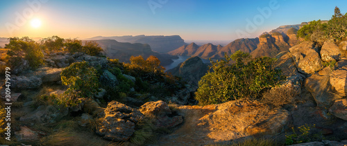 three rondavels and blyde river canyon at sunset  south africa