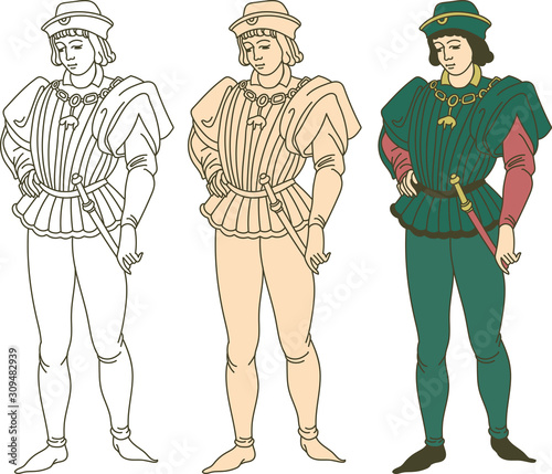 Fototapeta Medieval man wearing historic costume