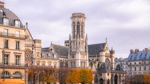 Paris, view of the Saint-Germain-l'Auxerrois church, near the Rivoli street Canvas Print