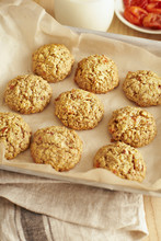 Overhead Shot Of Coconut Apricot Cookies With Oats And Almond