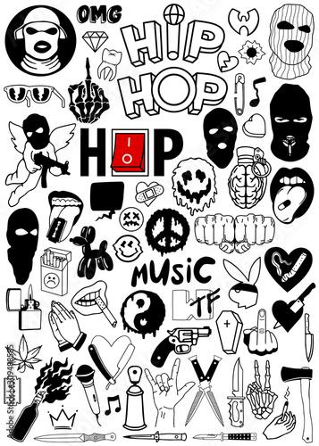 Hip Hop Vector Set Wallpaper Mural