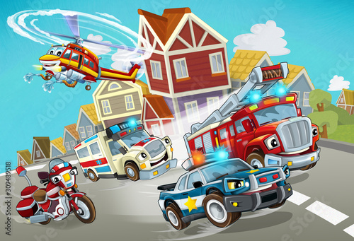 cartoon scene with fireman vehicle on the road with police car and ambulance - illustration for children