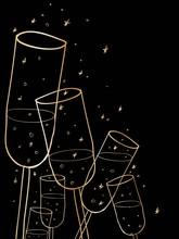 Doodle Champagne Glasses Background.