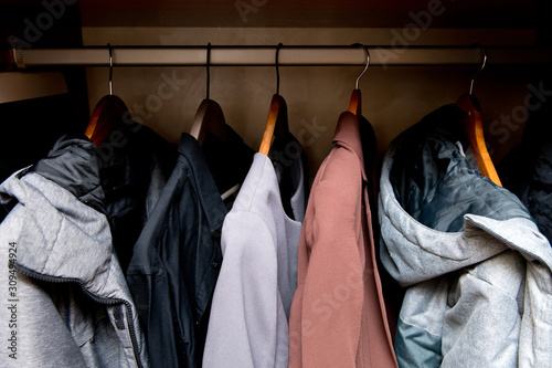 Obraz na plátně  view of the closet with everyday outerwear