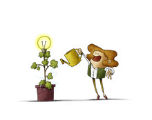 Woman Is Watering A Plant From...