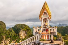 Closeup Shot Of A Famous Historic Landmark In Tiger Cave Temple, Krabi, Thailand, Asia