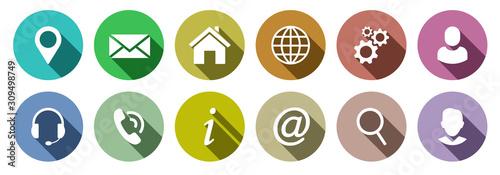 Fototapeta Set of colorful communication web icons obraz