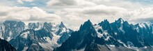 Panorama Of The Mountains Above Chamonix, The Mont Blanc Massif And Valee Blanche
