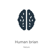 Human Brian Icon Vector. Trendy Flat Human Brian Icon From Nature Collection Isolated On White Background. Vector Illustration Can Be Used For Web And Mobile Graphic Design, Logo, Eps10