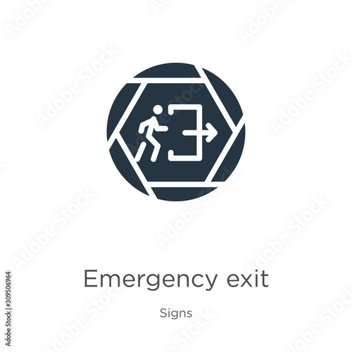 Emergency exit icon vector. Trendy flat emergency exit icon from signs collection isolated on white background. Vector illustration can be used for web and mobile graphic design, logo, eps10 Wall mural