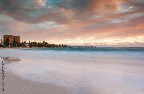 Beautiful sunset in Glenelg Beach Adelaide Australia Canvas Print