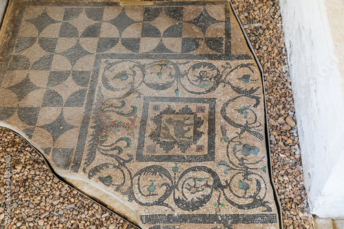 Photo Mosaic tile flooring from Villa of the Birds, during reign of Hadrian, in Alexan
