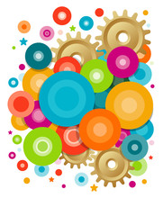 Abstract Composition With Circles Of Different Sizes Of Yellow, Green, Blue And Purple Mixed With Gears And Stars. Vector Background