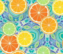 Citrus Slices, Orange, Lime, Lemon, And Grapefruit On A Intricate Kaleidoscope Background