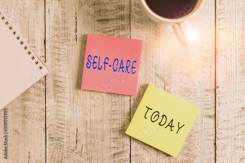 Fotografía Text sign showing Self Care