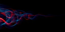 Abstract Light Smoke Red And Blue Color Wavy Flowing Isolated On Black In Concept Of Science, Technology, Modern.