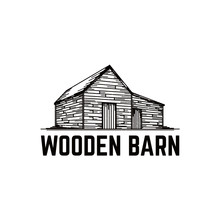 Old Wooden Barn Vector Illustration