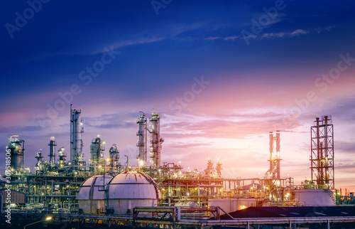 Oil and gas refinery plant or petrochemical industry on sky sunset background, F Fotobehang